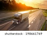 blue truck in motion blur on... | Shutterstock . vector #198661769