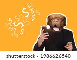 Small photo of Art portrait of man with a dog head. Concept is greedy or mercantile person. Collage with greedy man on orange background. Art portrait of greedy man in modern magazine style. Dollar symbols near it