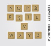 ABC on wooden blocks vector set.  Alphabet. Wooden scrabble game. Part two.