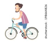 hipster young man on bike | Shutterstock .eps vector #198664826