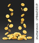coin cash prize. gold coins... | Shutterstock .eps vector #1986653519