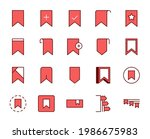 bookmark set line icons in flat ...