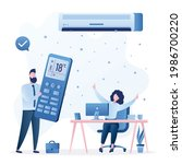 air conditioner cools air....   Shutterstock .eps vector #1986700220