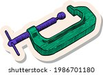 hand drawn woodworking clamp in ...   Shutterstock .eps vector #1986701180