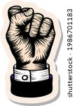 hand drawn hand fist in woodcut ...   Shutterstock .eps vector #1986701183