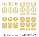 icon set of coins with the yen... | Shutterstock .eps vector #1986708179