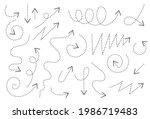 hand drawn arrow directions...   Shutterstock .eps vector #1986719483
