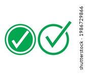 check mark green line icons....   Shutterstock .eps vector #1986729866