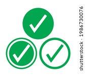 check mark green line icons....   Shutterstock .eps vector #1986730076