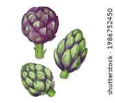 artichoke. vector food icons of ...   Shutterstock .eps vector #1986752450