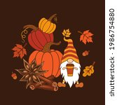 pumpkins   star anise  cinnamon ... | Shutterstock .eps vector #1986754880