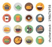 collection of food icons in... | Shutterstock .eps vector #198676958