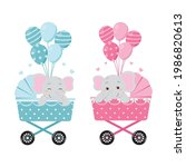 cute elephant on baby carriage... | Shutterstock .eps vector #1986820613