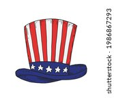 usa hat in national flag colors.... | Shutterstock .eps vector #1986867293