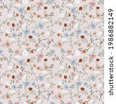 pink pastel blooming flowers... | Shutterstock .eps vector #1986882149