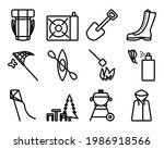 camping icon set. editable bold ...