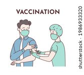 vaccination. a young man in a... | Shutterstock . vector #1986933320