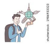 vaccination passport. happy man ... | Shutterstock . vector #1986933323