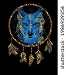 Wolf Head And Dream Catcher In...