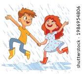 children jumping in the rain.... | Shutterstock .eps vector #1986954806