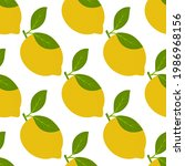 lemon fruits seamless pattern....   Shutterstock .eps vector #1986968156