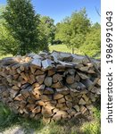 A Pile Of Stacked Firewood In...