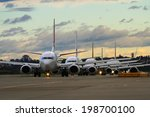 Jet Airliners Lined Up At Dusk...