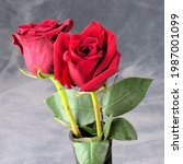 A Pair Of Vivid Red Roses In A...