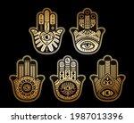 gold hamsa set vector. tattoo... | Shutterstock .eps vector #1987013396