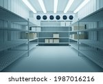 Small photo of Freezer warehouse. Racks stand along the warehouse wall. Room for freezing products. Storage of goods on warehouse shelves. Air conditioners weigh on the wall of the freezer.