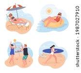 people relaxing on beach... | Shutterstock .eps vector #1987027910