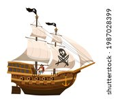 pirate ship sail  wooden old... | Shutterstock .eps vector #1987028399