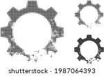 damaged gear halftone dotted... | Shutterstock .eps vector #1987064393