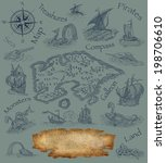 old pirate map | Shutterstock . vector #198706610