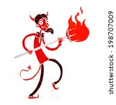 cartoon devil with pitchfork | Shutterstock .eps vector #198707009
