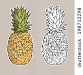 isolated pineapples. graphic... | Shutterstock .eps vector #198712298