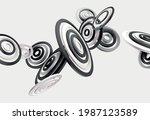 3d monochrome rings. realistic... | Shutterstock .eps vector #1987123589