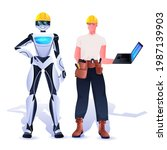 robot and workman in hardhats... | Shutterstock .eps vector #1987139903