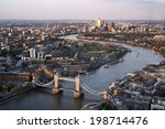 tower bridge and canary wharf ... | Shutterstock . vector #198714476
