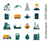 Oil industry drilling refining process petroleum transportation icons set with oilman and pump flat isolated vector illustration