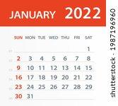 january 2022 calendar leaf  ... | Shutterstock .eps vector #1987196960