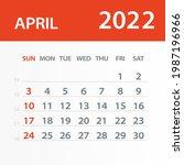april 2022 calendar leaf  ... | Shutterstock .eps vector #1987196966