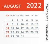 august 2022 calendar leaf  ... | Shutterstock .eps vector #1987196969
