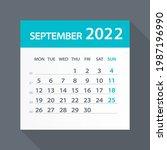 august 2022 calendar green leaf ... | Shutterstock .eps vector #1987196990