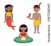 mermaid  lily pad and uirapuru  ... | Shutterstock .eps vector #1987208360