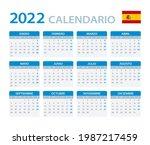 2022 calendar   vector template ... | Shutterstock .eps vector #1987217459