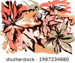 Drawing Floral Abstract And...