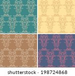 set of floral seamless pattern. ... | Shutterstock .eps vector #198724868