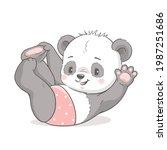 cute baby panda swinging and...   Shutterstock .eps vector #1987251686