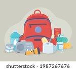 emergency kit bag stuffs... | Shutterstock .eps vector #1987267676